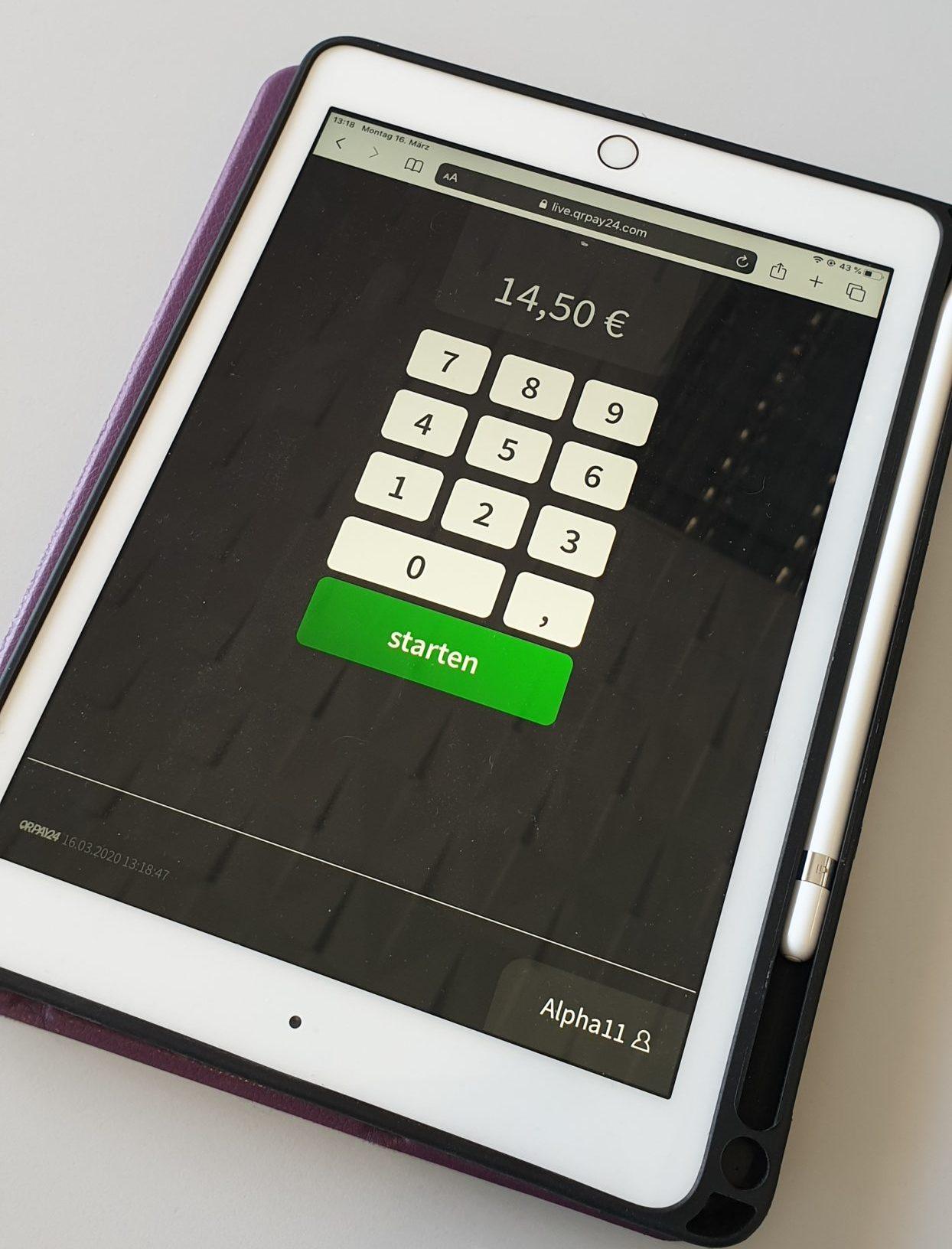 Zahlbetrag am Tablet eintippen und Bezahlen starten