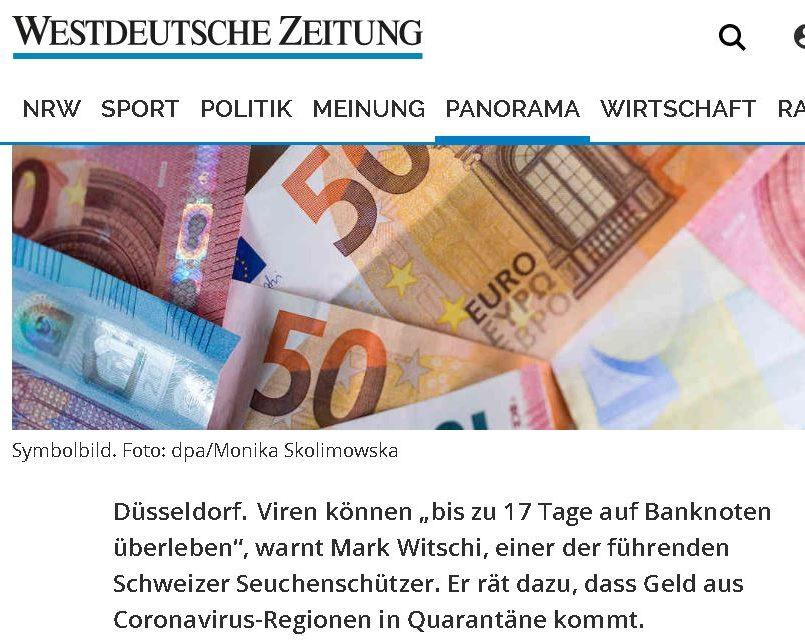Westdeutsche-Zeitung Seuchenexperte warnt vor Bargeld wegen Corona